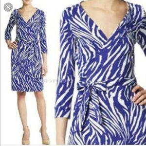 DVF New Julian Two Tiger Wrap Dress purple white 8